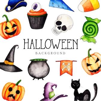 Akwarela Halloween elementów kolekcji tło