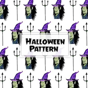 Akwarela halloween elementy wzór tła