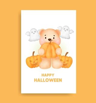 Akwarela halloween niedźwiedź trzymając kartę dyni.