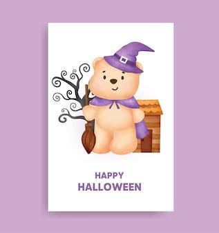 Akwarela halloween niedźwiedź trzymający kartę dyni