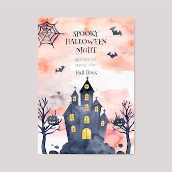 Akwarela halloween party pionowy plakat szablon
