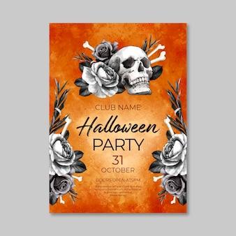Akwarela halloween party pionowy szablon ulotki