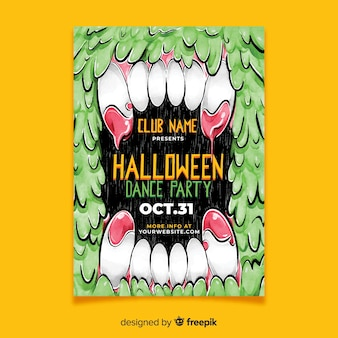 Akwarela halloween plakat party taneczne szablon