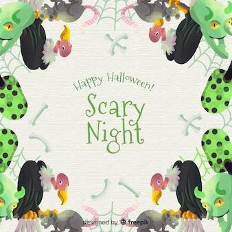 Akwarela halloween ramki z orłami