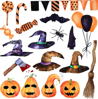 Akwarela halloween zestaw. ręcznie malowane dynie z twarzą, słodyczami, fantazyjnymi kapeluszami wiedźmy, miotłą wiedźmy, siekierą, pająkiem, nietoperzem. na białym tle obiekt na białym tle.