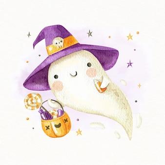 Akwarela halloweenowa ilustracja ducha