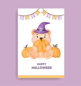 Akwarela halloweenowa karta niedźwiedzia