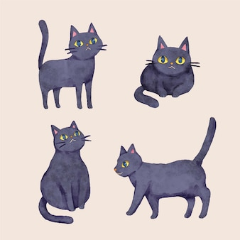 Akwarela halloweenowa kolekcja czarnych kotów