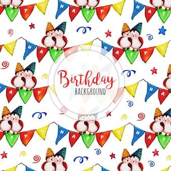 Akwarela Happy Birthday Background Darmowych Wektorów