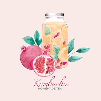 Akwarela herbata kombucha