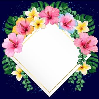 Akwarela hibiskusa i tropikalne liście elegancka rama