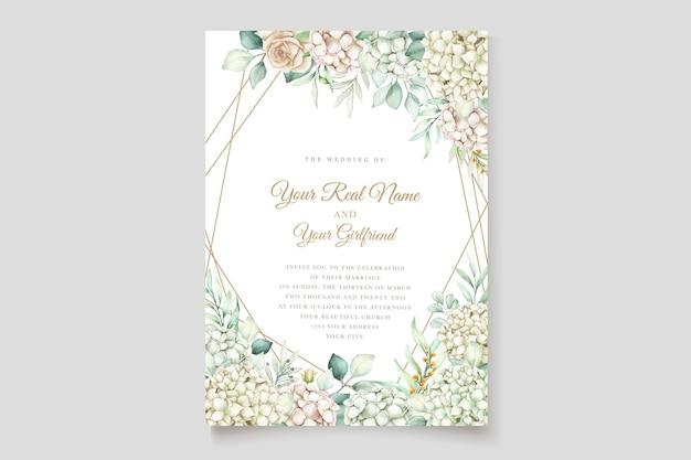 Akwarela hortensja karta zaproszenie na ślub