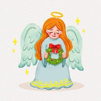 Akwarela ilustracja anioła bożego narodzenia
