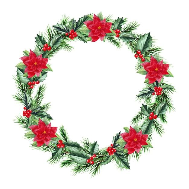 Akwarela ilustracja boże narodzenie wieniec z gałęzi jodły. wesołych świąt i szczęśliwego nowego roku.