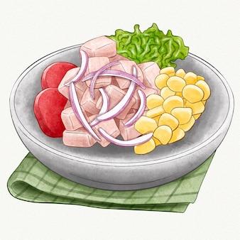 Akwarela ilustracja ceviche