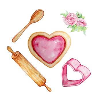 Akwarela ilustracja ciasteczka serce z różową śmietaną, serce naczynia do pieczenia i przedmioty do gotowania wałkiem i łyżką