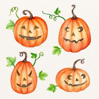 Akwarela ilustracja dyni halloween