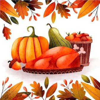 Akwarela ilustracja dziękczynienia