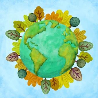 Akwarela ilustracja dzień matki ziemi