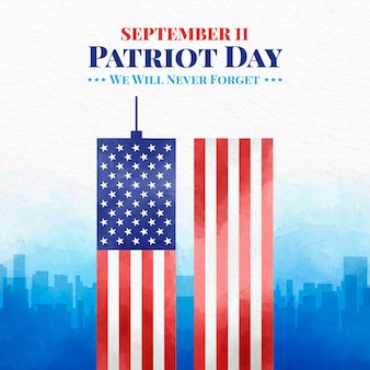 Akwarela ilustracja dzień patrioty 9.11