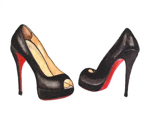 Akwarela ilustracja fasion z butami damskimi