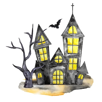 Akwarela ilustracja halloween. ręcznie rysowane świąteczna kompozycja na białym tle. czarny nawiedzony dom, drzewo i bat