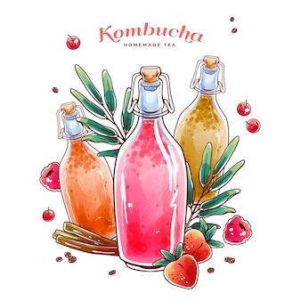Akwarela ilustracja herbata kombucha