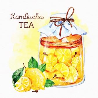 Akwarela ilustracja herbaty kombucha z cytrynami