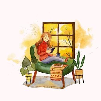 Akwarela ilustracja jesień