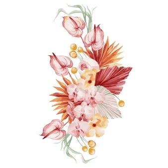Akwarela ilustracja, jesienny bukiet, kompozycja w stylu bohemy z bordowymi liśćmi palmowymi, orchideą, proteą, żółtym asterem i anturium