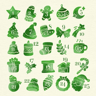 Akwarela ilustracja kalendarz adwentowy