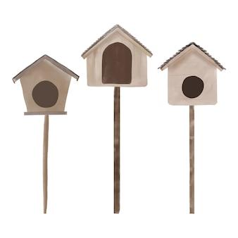 Akwarela ilustracja kolekcji drewnianych ptaszarni
