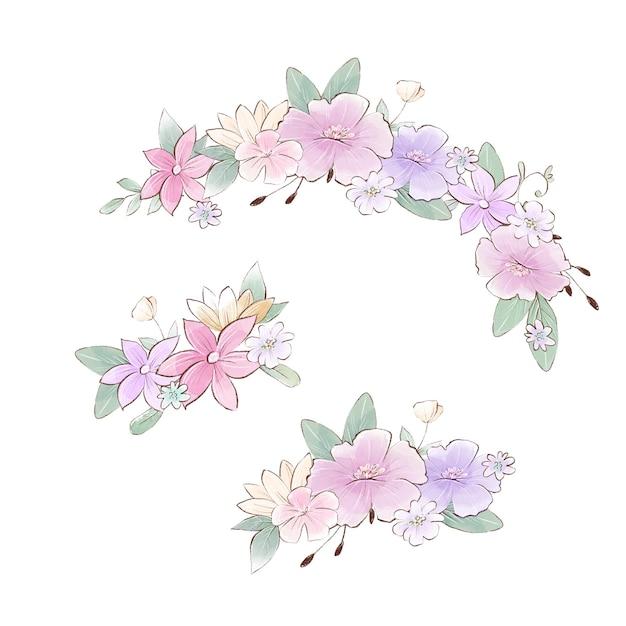 Akwarela ilustracja kompozycji bukietów z delikatnymi wiosennymi kwiatami