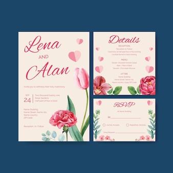Akwarela ilustracja koncepcja szablon karty ślubu