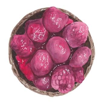 Akwarela ilustracja koszyka czekoladowego brownie z malinami