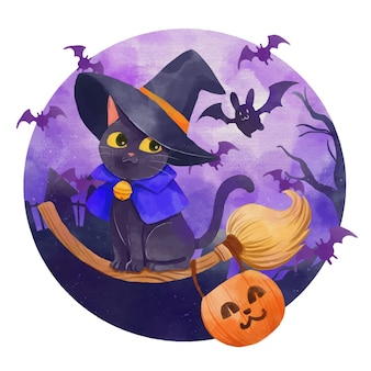 Akwarela ilustracja kota halloween