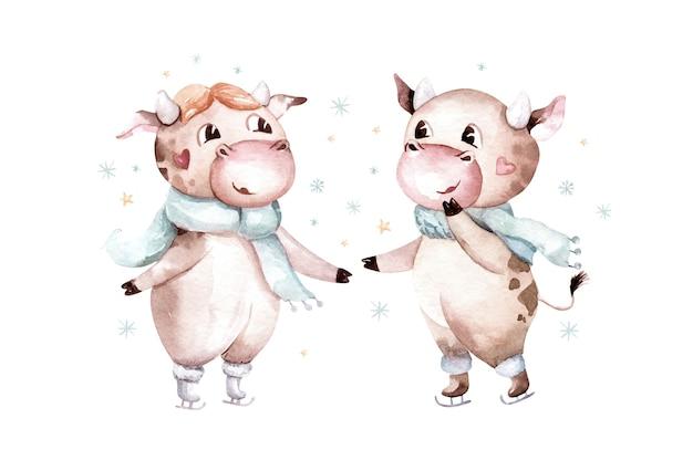 Akwarela ilustracja kreskówka byka. symbol roku 2021. zabawny i uroczy byk. boże narodzenie ilustracja.