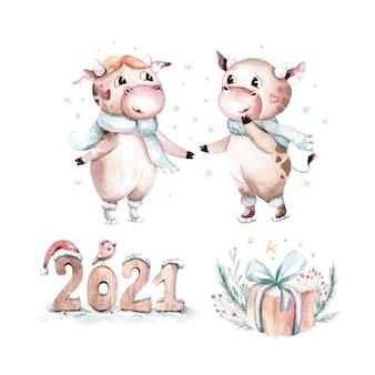 Akwarela ilustracja kreskówka byka. symbol roku. zabawny i uroczy byk. ilustracja.