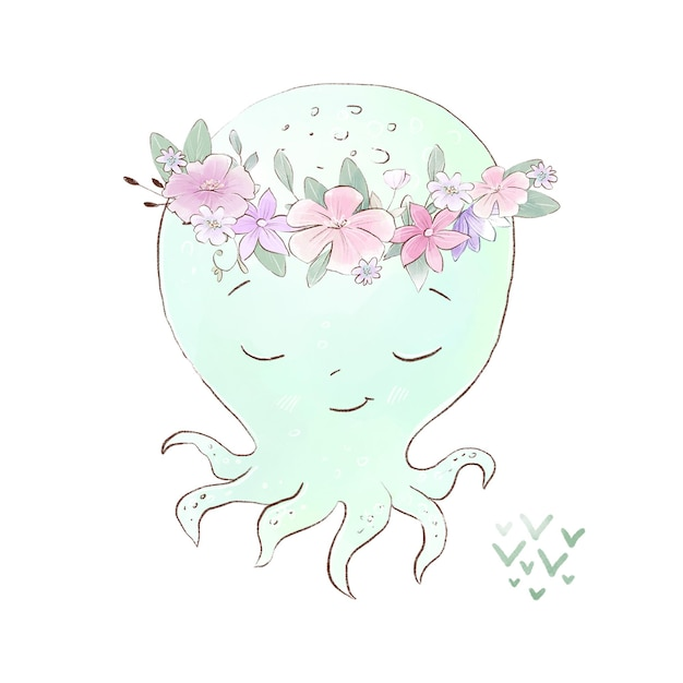 Akwarela ilustracja kreskówka ośmiornicy z delikatnymi kwiatami