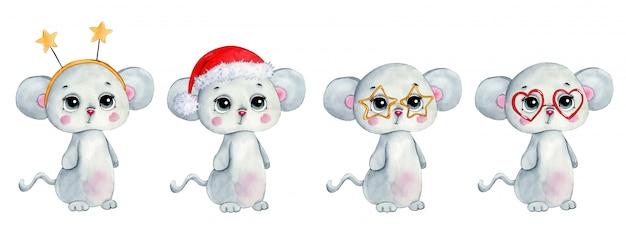 Akwarela ilustracja kreskówka zima zestaw świątecznych myszy.
