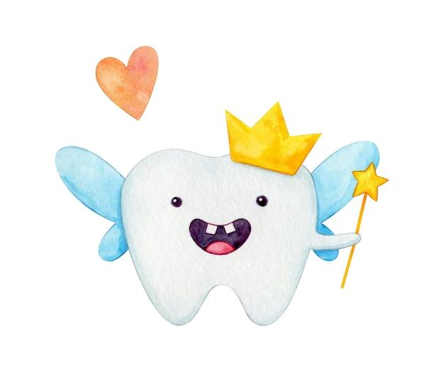 Akwarela ilustracja księżniczka ząb wróżka