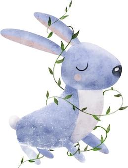 Akwarela ilustracja ładny bezwłosy króliczek w zielonych liściach