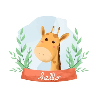 Akwarela ilustracja ładny zwierząt żyrafa