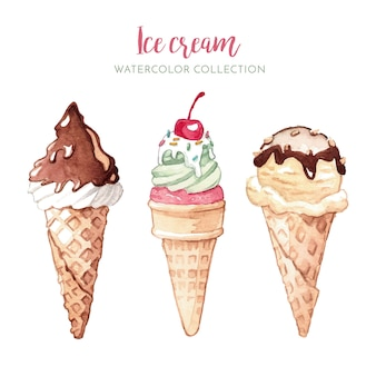 Akwarela ilustracja lody