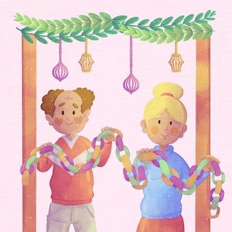 Akwarela ilustracja ludzi świętujących sukkot
