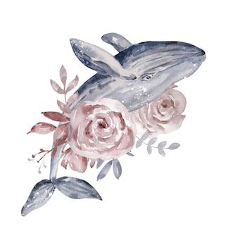 Akwarela ilustracja. magia niebiańska kompozycja abstrakcyjna. wieloryb z różami i liśćmi. kompozycja na białym tle.