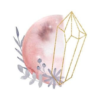 Akwarela ilustracja. magiczna kompozycja abstrakcyjna. księżyc i kamienie szlachetne i kwiaty. magiczna ilustracja na białym tle.