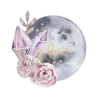 Akwarela ilustracja. magiczna kompozycja abstrakcyjna. księżyc w pełni, kamienie szlachetne i kwiaty. magiczna ilustracja na białym tle.