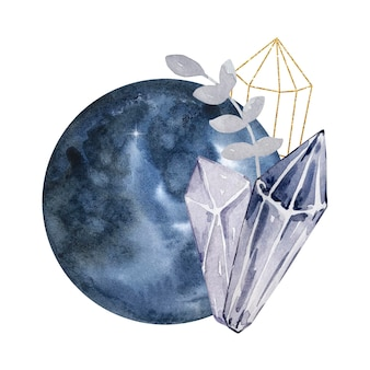 Akwarela ilustracja. magiczna kompozycja abstrakcyjna. pełnia księżyca i kamienie szlachetne. magiczna ilustracja na białym tle.