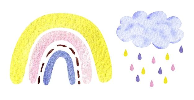 Akwarela ilustracja modna spokojna neutralna tęcza, chmura, krople deszczu na białym tle. baby shower, wystrój pokoju dziecięcego.